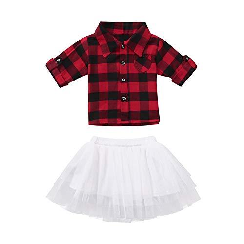 Fairy Baby Bambino Piccolo Bambine 2pcs Gonna Set Rosso Controllato Camicia+Tutu Tulle