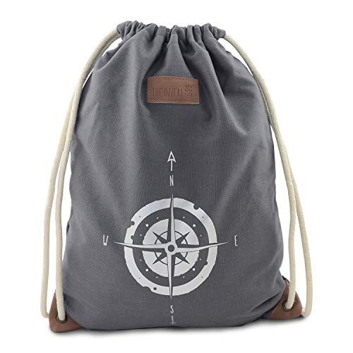 THE OZZERS Turnbeutel Bedruckt für Damen und Herren - Stoffbeutel aus veganen Leder und wasserabweisender Baumwolle - Baumwollbeutel mit Reißverschluss-Innentasche - Rucksack mit 10 mm Kordelzug