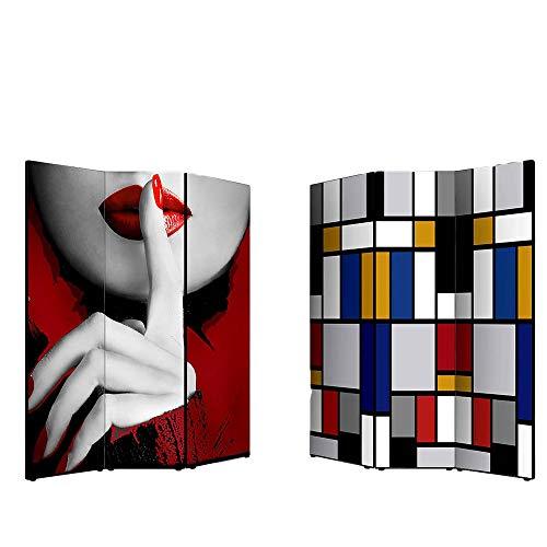 Lupia Separè Bifacciale Artistico Divisorio Telaio 3 Ante Con Stampa Su Tela Moderno Geometrico 176X3.2X135.6 Cm