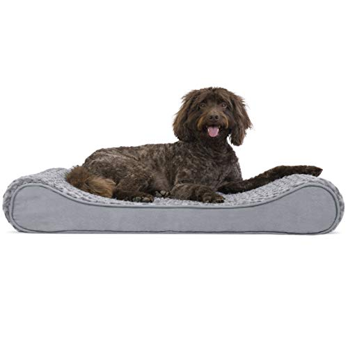 Furhaven Pet Dog Bed | Orthopedic Ultra Plush Faux Fur Ergonomic Luxe Lounger Cradle Mattress Contour Pet Bed w/ Removable Cover for Dogs & Cats, Gray, Large Beds Cat Custom Dog Furniture Pet Profile Promotion Savings Stores Supplies Top