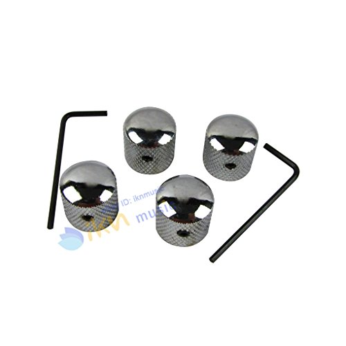IKN 4pcs Chrome Dome Guitar Knob Screw Style Solid Shaft Tone Volume Speed Control Knobs for Guitar Bass