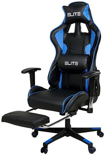 ECS ELITEGROUP Elite Racing Gaming Stuhl Crosshair mit Fußstütze - Bürostuhl - Kunstleder - Ergonomisch - Racer - Drehstuhl - Chair - Chefsessel - Schreibtischstuhl (Schwarz/Blau)