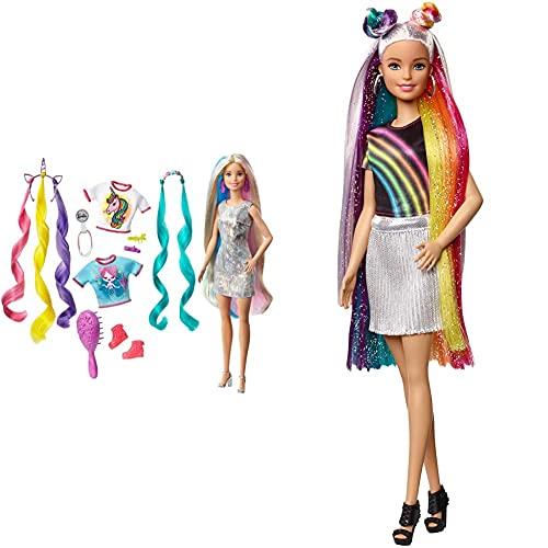 Barbie Peinados Fantasía Rubia con Looks De Sirena Y Unicornio, Multicolor + Destellos De Arociris, Muñeca Rubia con Cabello Extra Largo con Accesorios para Peinar, Regalo para Niñas Y Niños 3-9 Años