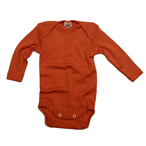 Cosilana baby - Body para bebés de lana/seda de Wollbody Azafrán Naranja 50/56