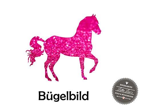 Bügelbild Aufbügler mit Pferd Horse Reiten Ride Name in Flex, Glitzer, Flock, Effekt in Wunschgröße