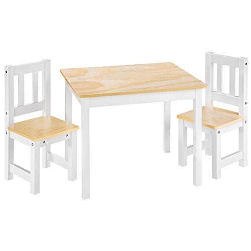 TecTake Conjunto de Muebles Mesa y 2 sillas para niños infantieles Madera Blanco