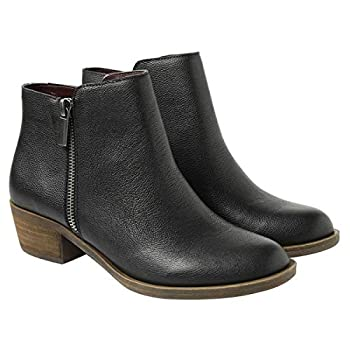 kensie Women s Black Leather Ghita Short Ankle Boots  7