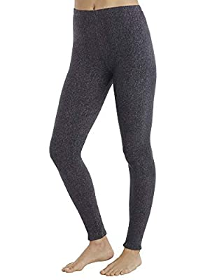 Cuddl Duds ClimateRight Womens Stretch Fleece Warm Underwear Leggings Pants (L, Grey Cationic)