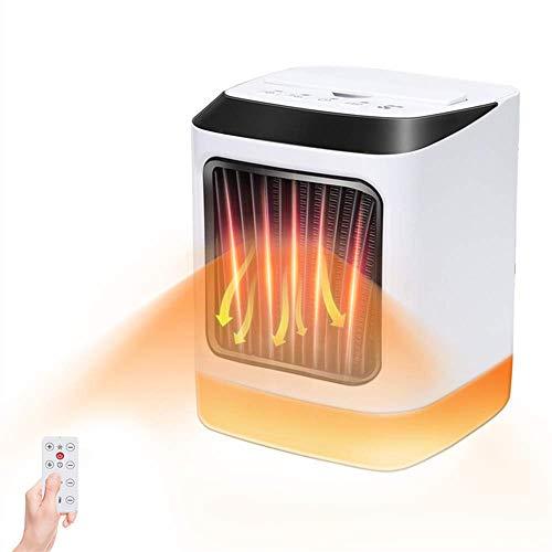 Calefactor baño bajo consumo con control remoto 800W electrico calefactor de aire caliente con Temporizador / Silencio, protección contra sobrecargas, resistente al agua, Luz nocturna 7 colores