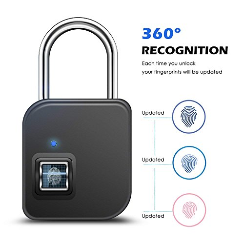 SZHSR 2018 Fingerprint Lock,1 Second Unlock Portable Smart Biometric Security No Password,Waterproof and Anti-Theft Padlock for Golf Bag,Suitcase,Gym Locker,Cupboard,Drawer,Door and More(Gold)