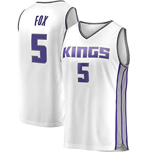 YDJY Camiseta de baloncesto para hombre Aaron Fox al aire libre King de secado rápido camisetas #5 ropa deportiva blanca