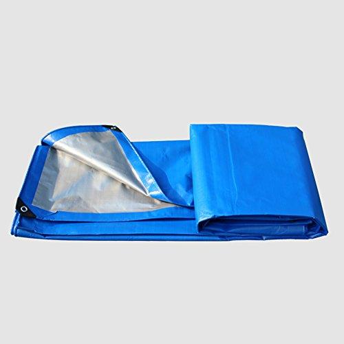 QIANGDA Feuille De Bâche Double Face Imperméable Super Anti Poussière Résistant Au Froid Anti-âge, 200g / M², Épaisseur 0.32mm, Bleu + Ruban, 14 Tailles Facultatives (Taille : 6 x 8m)