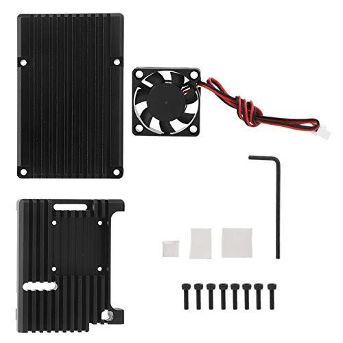 Carcasa de refrigeración, accesorios de instalación Carcasa del disipador de calor Negro Industrial para Raspberry Pi 4 Modelo B