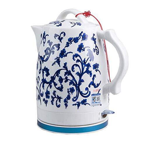 YSkettle Eléctrico Cerámica Inalámbrico Azul y Blanco Porcelana Tetera Tetera 1.6L El jarro hierve el Agua rápidamente para el té Sopa de café Avena