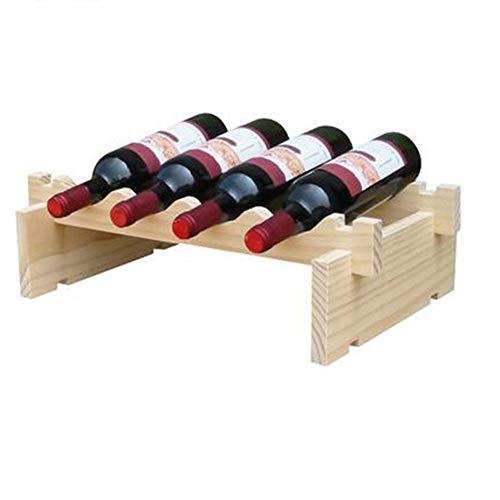 YLEI Weinregal aus Holz, stehend Weinständer, Flaschenständer Pinienholz, Aufbewahrungsregal, Weinflaschen Standregal, Weinflaschenhalter stapelbar,1 Layer