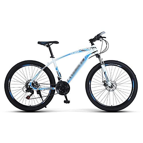 Bicicleta de montaña 21/24/27 Velocidad Marco de acero 26 pulgadas Ruedas de 3 rayos Suspensión delantera Bicicleta MTB para hombres, mujeres, adultos y adolescentes (tamaño: 21 velocidades, color: bl