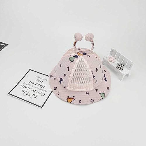 TUOLUO Baby Sonnenschirm Hut Frühling Und Herbst Dünnschnitt Sommer Kleinkind Becken Becken Hut Männlich Baby Mädchen Prinzessin Fischer Hut 5-15 Monate/rosa - Doppelfilet