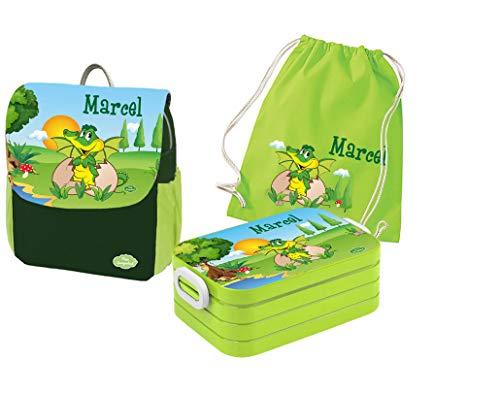 Mein Zwergenland Set 4 Kindergartenrucksack mit Brotdose Maxi und Turnbeutel Happy Knirps Next Print mit Name Dino, 3-teilig, Grün