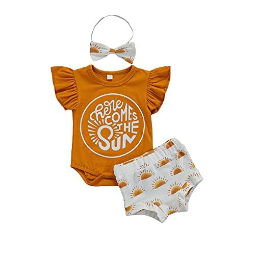 Conjunto de 3 piezas de ropa de verano con volantes y estampado de letras + pantalones cortos para el sol + diadema