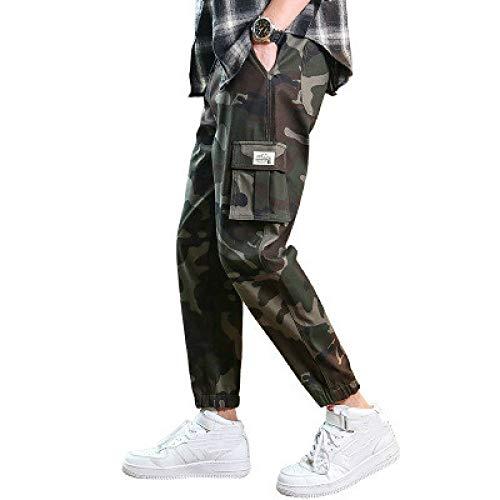 Katenyl Pantalones Cargo de Camuflaje de Cintura Media para Hombre, Tendencia de Moda, Todo fósforo, Trabajo de Combate al Aire Libre, Pantalones relajados y recortados con Bolsillos XL