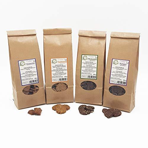 Herbal Force Kräuterleckerlies für Pferde - Lavendel, Hanf, Teufelskralle/Ingwer oder Bierhefe - ohne Zuckerzusatz, keinerlei künstliche Zusatz- und Konservierungsstoffe (4 SortenMix je 200g)