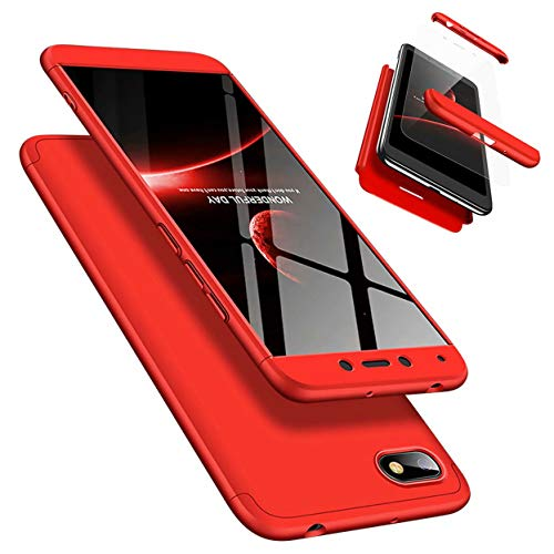 Funda Xiaomi Redmi 6A 360 Grados Caja Caso + Vidrio Templado Laixin 3 in 1 Carcasa Todo Incluido Anti-Scratch Protectora de teléfono Case Cover para Xiaomi Redmi 6A (Rojo)