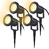 SAILUN 4 Stück 3W LED Gartenleuchte Rasen Licht mit Erdspieß, Matt-Schwarz, Warmweiß, wasserdicht IP65 für den Außenbereich Garten Teich Landschaft (4 * 3W Warmweiß)