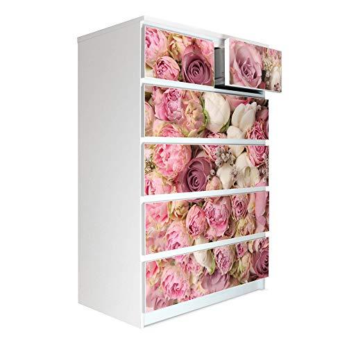 banjado Möbelaufkleber passend für IKEA Malm Kommode 6 Schubladen | Selbstklebende Möbelfolie | Sticker Tattoo perfekt für Wohnzimmer und Kinderzimmer | Klebefolie Motiv Strauss Rosen