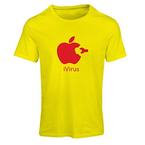 Frauen T-Shirt iVirus - Neues tech Liebhaber lustiges Geschenk (Medium Gelb Rote)