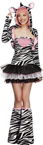Fever, Dames Zebra kostuum, Tutu jurk met afneembare bandjes, jas met dier capuchon en laarzen, Maat: L, 22798