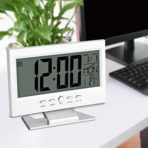 Reloj Despertador eléctrico, Pantalla LCD Sensor de Sonido de luz Nocturna Inteligente...