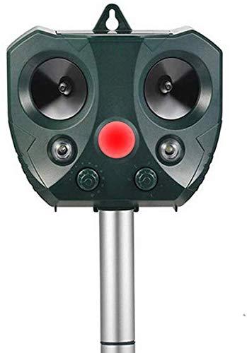 Katzenschreck Ultraschall Solar, Tiervertreiber mit LED Blitz Tierschreck Wasserdicht für den Garten, 5 Modus, bewegungsaktivierter PIR-Sensor und blinkender Tierabwehrstift mit 2 Lautsprechern