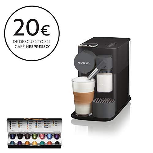 Nespresso De'longhi en 500.b lattissima one black-cafetera monodosis de cápsulas depósito de leche compacto, 19 bares, apagado automático, color negro, 1400 W, 0.03 litros, Plástico