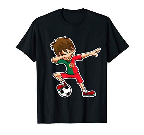 Dabbing Soccer Boy Portugal Trikot, Portugiesisch Kinder T-Shirt