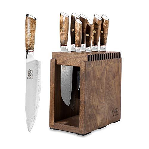 Kochmesser Set,Profi Damastmesser-Set Messerblock Messer Set 8-TLG,sehr hochwertiges Damast Küchenmesser Set,Japanisches Damaskus-Kochmesser mit weißem Schattenholzgriff,Messer Set Für Küche