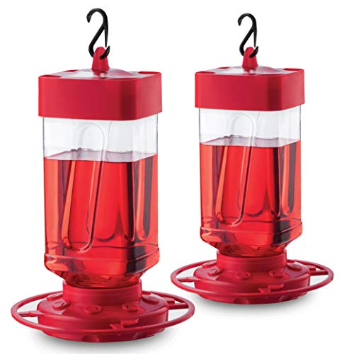 Hummingbird Feeders for Outdoors 32 oz [Set of 2] First Nature Bee Proof Hummingbird Feeders - Circular Perch with 8 Feeding Ports - Wide Mouth for Easy Filling - 2 Part Base for Easy Cleaning