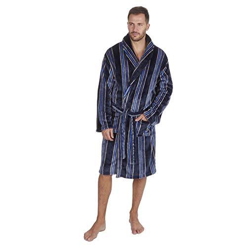 Herren-Bademantel aus weichem Fleece, dick und warm, mit Kapuze, nicht mit Kapuze Gr. XXXXX-Large, Black/Blue - Stripe Gown - Shawl Collar