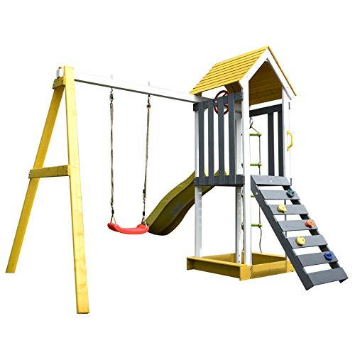 ALEKO Outdoor Wooden Swing Playset with Swing, Slide, Steering Wheel, and Rock Climbing Ladder