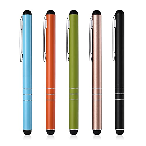 Eingabestift 5 Stück Touchstift Stylus Pen Touchscreen Stift für iPhone Samsung Galaxy Huawei Tablets und Alle Smartphone, Farbe:Schwarz, Gold, Grün, Orange, Blau