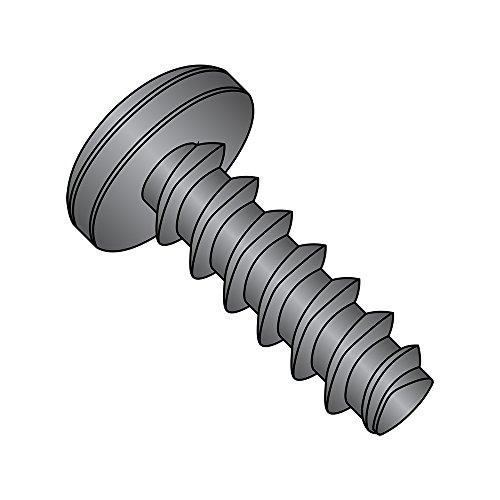 Steel Thread Rolling Screw for Plastic, Black Zinc Plated, Pan Head, Phillips Drive, #2-28 Thread Size, 3/8