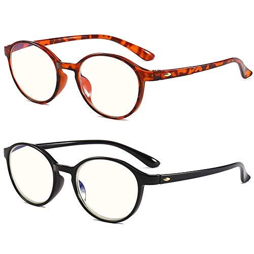 2 stuks ronde leesbril voor dames en heren flexibele kijkhulp anti-blauw licht leeshulp computerlezer +1.0 2 stuks (zwart, luipaard).
