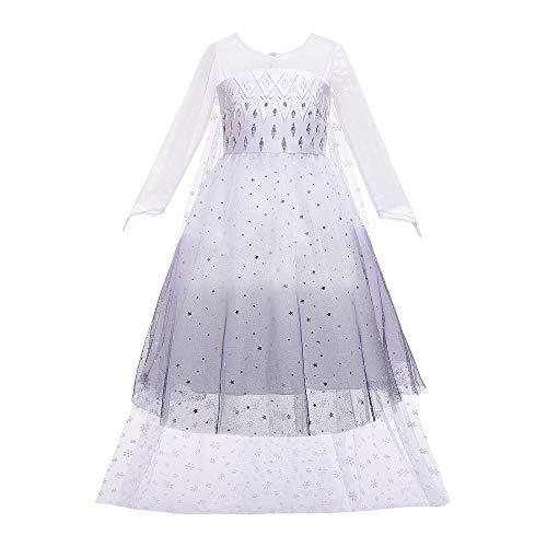 O.AMBW Vestido de Princesa para niñas de 2 a 10 años Disfraz de Frozen Princesa Elsa Vestido Largo Blanco y Negro con Capa Mangas largas Regalo de cumpleaños Disfraces para niñas Frozen 2 Fans