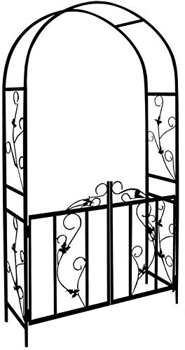 PJF Metal Garden Arch Arbours Wedding Archway Plant Trellis Rose Arches with Gate