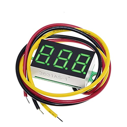 MCYAW 0,36 Zoll 0,36'Digital Voltmeter rot grün blau DC 0V-100V 3 Zeilen 3-stellige Spannungs-Panel-Zähler-Anzeige LED-Farbe für Arduino (Color : Green)