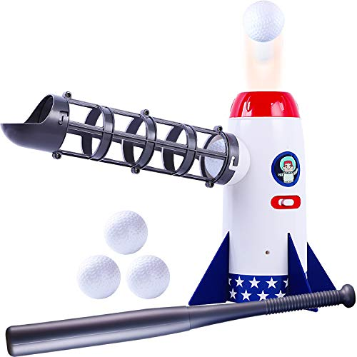 Kids Baseball Toys, Automatic Pitching Machine, T Balls Pitcher Set, Ball Launcher, Boys Exercise Training Sport Yard Game, Indoor Outdoor Birthday Gift for 5 6 7 Year Old Toddler Child Color May Vary