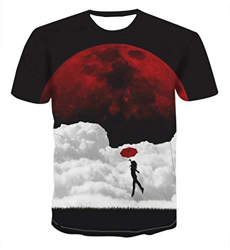 Htekgme Unisex 3D Gedrukt T-shirt Zomer Gepersonaliseerd Onder de nacht paraplu Casual T-shirt met korte mouw Shirts Tops