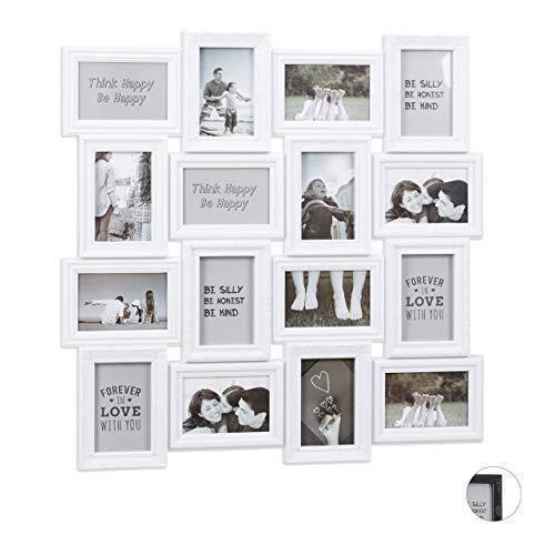 Relaxdays Bilderrahmen Collagen, für 16 Bilder, 9 x 13, Hoch- oder Querformat, Kunststoffrahmen, HxB 70 x 70 cm, weiß