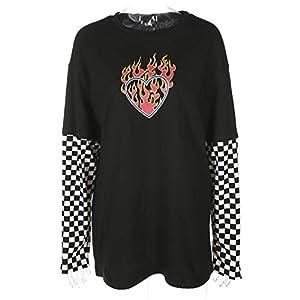 Mcaishen Camiseta De Patchwork De Ajedrez con Tablero De Ajedrez A Cuadros Blanco Y Negro De Las Mujeres Corazón Rojo Impresión Cuello Redondo Camisa A Cuadros Costura Manga Larga Camiseta(XL)