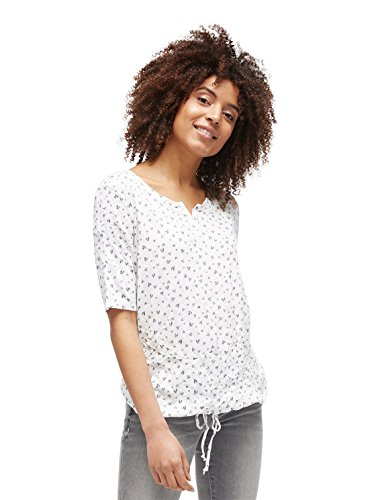 TOM TAILOR Damen alloverprinted Crinkle T-Shirt, Elfenbein (Whisper White 8210), Medium