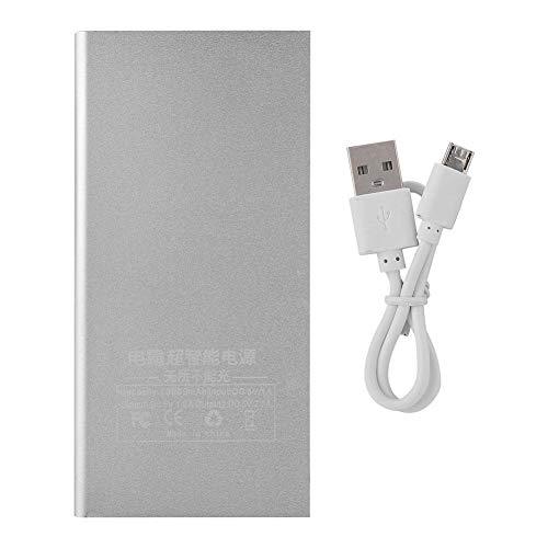 Powerbank, 10000mAh draagbare zonnelader, dubbele USB-batterij Power Bank, klein formaat, gemakkelijk mee te nemen, met LED-licht (zilver)